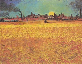 Sunset: Weat Fields Near Arles, June 1888 by Vincent van Gogh | Painting Reproduction