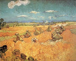 Wheat Stacks with Reaper, June 1888 by Vincent van Gogh | Painting Reproduction