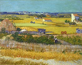 Ernte am La Crau mit Montmajour, June 1888 von Vincent van Gogh | Gemälde-Reproduktion