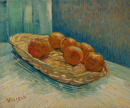 Still Life with Basket of Six Oranges, March 1888 by Vincent van Gogh | Painting Reproduction
