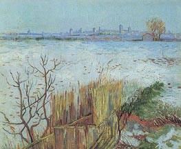 Snowy Landscape with Arles in the Background, February 1 von Vincent van Gogh | Gemälde-Reproduktion
