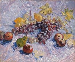 Still Life with Grapes, Apples, Pears and Lemons, Autumn 188 by Vincent van Gogh | Painting Reproduction