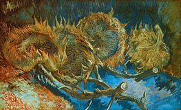 Four Cut Sunflowers, 1887 by Vincent van Gogh | Painting Reproduction