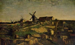 View of Montmartre with Windmills, Autumn 188 von Vincent van Gogh | Gemälde-Reproduktion