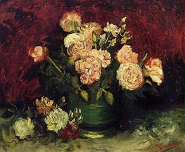Bowl with Peonies and Roses, Autumn 188 von Vincent van Gogh | Gemälde-Reproduktion