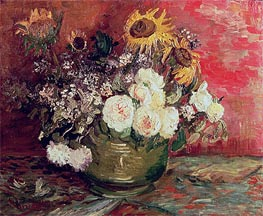 Bowl with Sunflowers, Roses and Other Flowers, 1886 von Vincent van Gogh | Gemälde-Reproduktion
