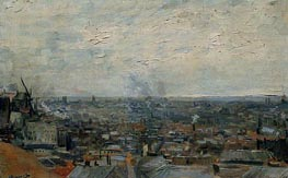 View of Paris from Montmartre, Late Summe von Vincent van Gogh | Gemälde-Reproduktion
