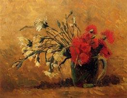 Vase mit roten und weißen Nelken auf gelbem Hintergrund, 1886 von Vincent van Gogh | Gemälde-Reproduktion