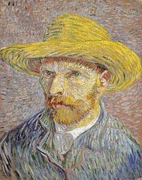 Self Portrait with a Straw Hat | Vincent van Gogh | Gemälde Reproduktion