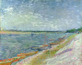View of a River with Rowing Boats, 1887 von Vincent van Gogh | Gemälde-Reproduktion