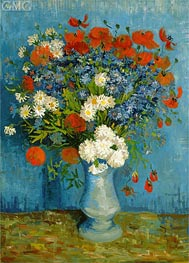Vase with Cornflowers and Poppies, 1887 by Vincent van Gogh | Painting Reproduction