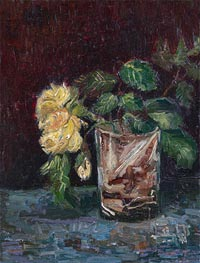 Glass with Yellow Roses, 1886 by Vincent van Gogh | Painting Reproduction