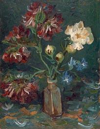 Kleine Flasche mit Pfingstrosen und Rittersporn Blaue | Vincent van Gogh | Gemälde Reproduktion
