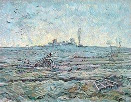 Schneebedeckte Feld mit einer Egge | Vincent van Gogh | Gemälde Reproduktion