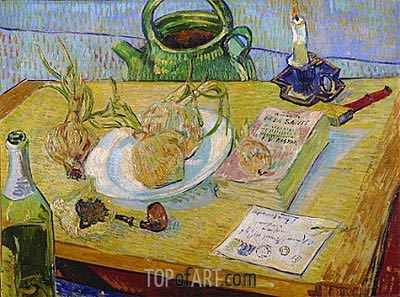 Still Life with a Plate of Onions, 1889 | Vincent van Gogh| Painting Reproduction