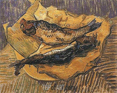 Still Life: Bloaters on a Piece of Yellow Paper, 1889 | Vincent van Gogh| Painting Reproduction