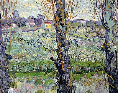 Orchard in Bloom with View of Arles, 1889 | Vincent van Gogh | Gemälde Reproduktion