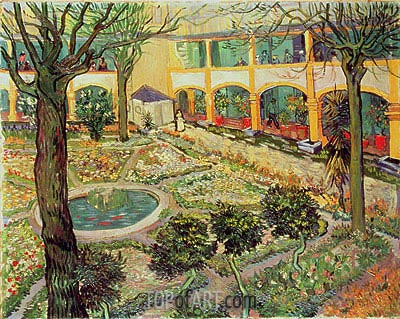 The Courtyard of the Hospital at Arles, 1889 | Vincent van Gogh | Gemälde Reproduktion