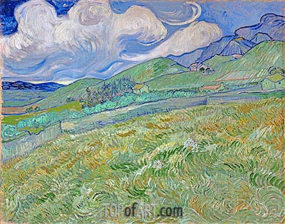 Mountainous Landscape Behind Saint-Paul Hospital, 1889 | Vincent van Gogh| Painting Reproduction
