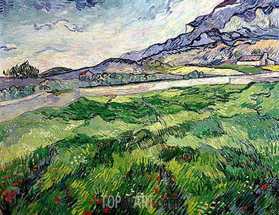 Green Wheat Field, 1889 | Vincent van Gogh| Painting Reproduction