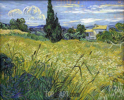 Green Wheat Field with Cypress, 1889 | Vincent van Gogh | Painting Reproduction