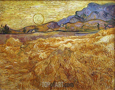 Wheat Field with Reaper and Sun, 1889 | Vincent van Gogh | Painting Reproduction