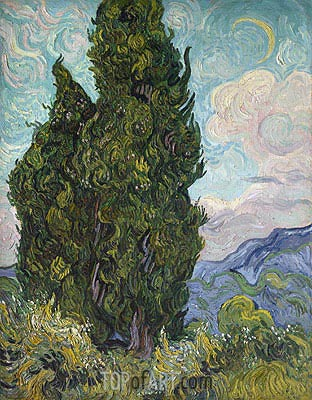 Cypresses, 1889 | Vincent van Gogh| Painting Reproduction