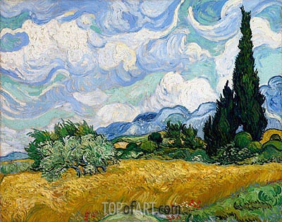 Wheat Field with Cypresses, 1889 | Vincent van Gogh | Painting Reproduction