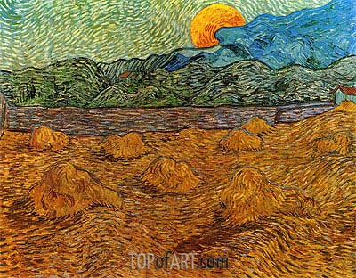 Landscape with Wheat Sheaves and Rising Moon, 1889 | Vincent van Gogh| Painting Reproduction