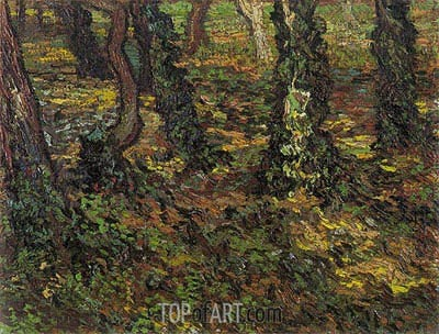 Tree Trunks with Ivy, 1889 | Vincent van Gogh| Painting Reproduction