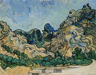 Mountains at Saint-Remy with Dark Cottage, 1889 | Vincent van Gogh | Painting Reproduction