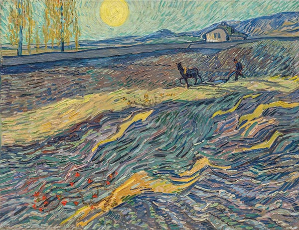 Enclosed Field with Ploughman, Late Augus | Vincent van Gogh| Gemälde Reproduktion