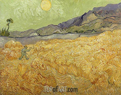 Wheatfield with a Reaper, 1889 | Vincent van Gogh| Painting Reproduction