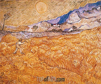 Wheat Field Behind Saint-Paul Hospital with Reaper, September | Vincent van Gogh| Gemälde Reproduktion