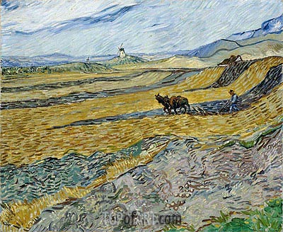 Enclosed Field with Ploughman, 1889 | Vincent van Gogh| Painting Reproduction