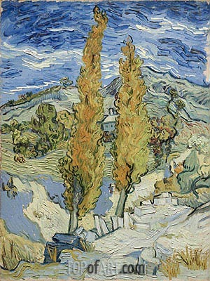 The Poplars at Saint-Remy, 1889 | Vincent van Gogh| Painting Reproduction