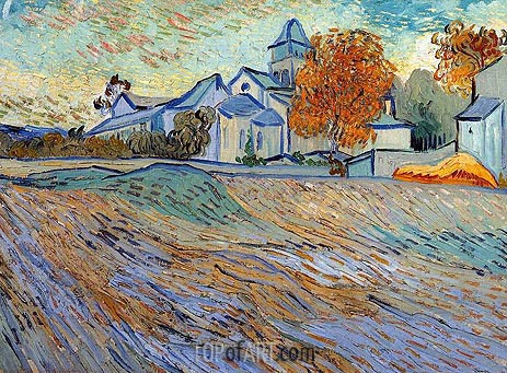 View of the Church of Saint-Paul-de-Mausole, 1889 | Vincent van Gogh | Painting Reproduction