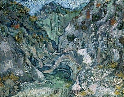 Les Peiroulets Ravine, 1889 | Vincent van Gogh | Gemälde Reproduktion