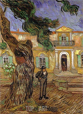 Pine Trees with Figure in the Garden of Saint-Paul Hospital, 1889 | Vincent van Gogh | Painting Reproduction