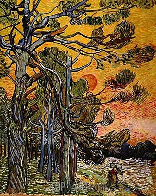 Pine Trees at Sunset , 1889 | Vincent van Gogh | Gemälde Reproduktion