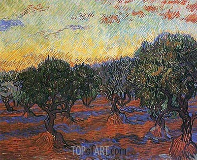 Olive Grove: Orange Sky, 1889 | Vincent van Gogh | Painting Reproduction