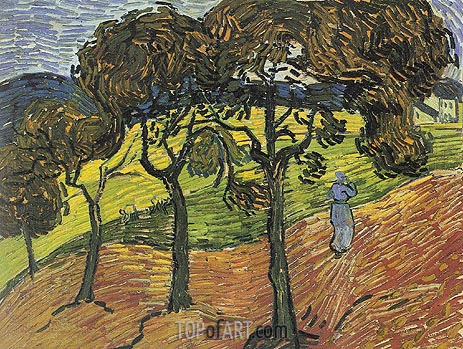 Landscape with Trees and Figures, 1889 | Vincent van Gogh| Painting Reproduction