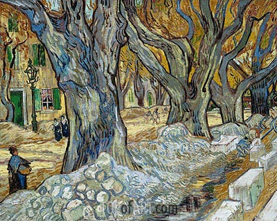 The Large Plane Trees (Road Menders at Saint-Remy), 1889 | Vincent van Gogh | Painting Reproduction