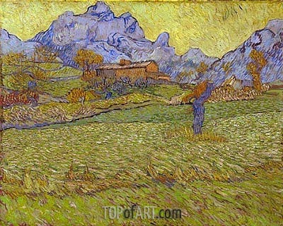 Wheatfields in a Mountainous Landscape, 1889 | Vincent van Gogh | Painting Reproduction