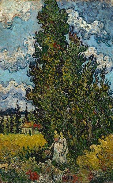 Zypressen und zwei Frauen, 1890 | Vincent van Gogh | Gemälde Reproduktion