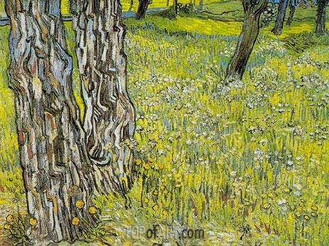 Vincent van Gogh | Pine Trees and Dandelions in the Garden, April-May