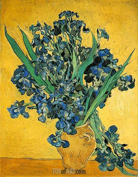 Vase with Irises Against a Yellow Background, 1890 | Vincent van Gogh | Gemälde Reproduktion