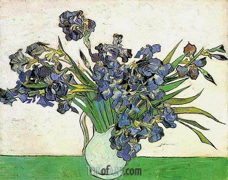 Still Life - Vase with Irises, 1890 | Vincent van Gogh| Gemälde Reproduktion