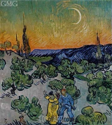 Landscape with Couple Walking and Crescent Moon, May 1890 | Vincent van Gogh | Painting Reproduction