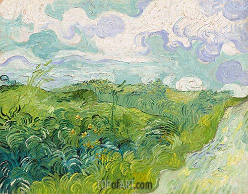 Green Wheat Fields, May 1890 | Vincent van Gogh | Painting Reproduction